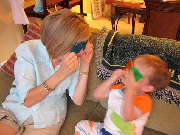 Mom showing grand-son Jack how to see the world from a different perspective.